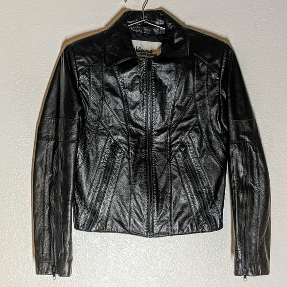 Wilsons Leather Jackets & Blazers - 70s Wilson's Leather Black Cropped Moto Jacket